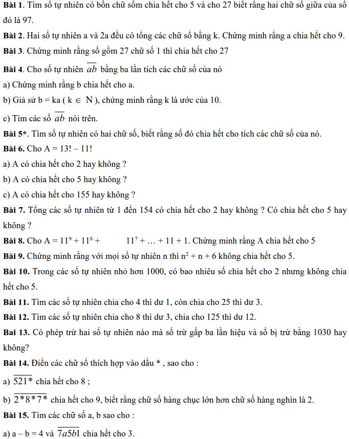 Bài tập về các dấu hiệu chia hết – Số học 6