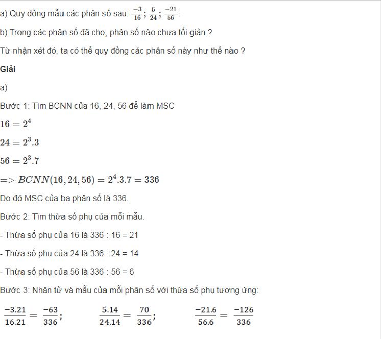 Làm các bài tập phần quy đồng mẫu số nhiều phân số toán lớp 6
