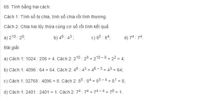 Thực hành làm các bài toán phần chia lũy thừa cùng cơ số lớp 6
