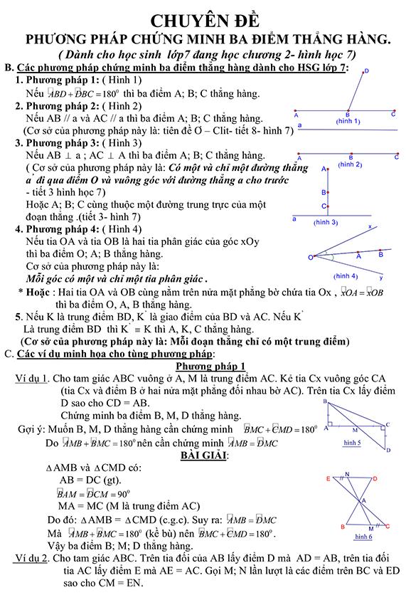 4 Phương pháp chứng minh 3 điểm thẳng hàng
