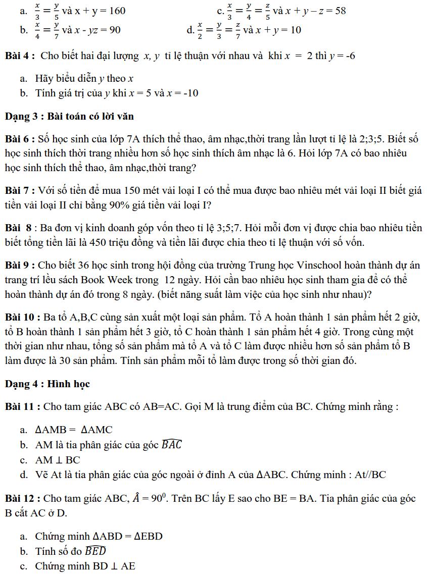 Đề cương ôn tập HK1 môn Toán 7 THCS Vinschool 2019-2020