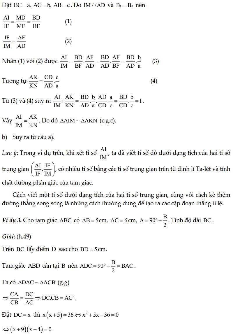 Chuyên đề tam giác đồng dạng – Toán lớp 8