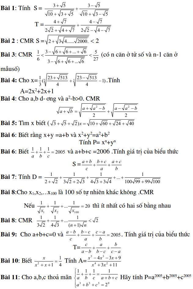Dạng bài tập tính giá trị biểu thức – Đại số 9