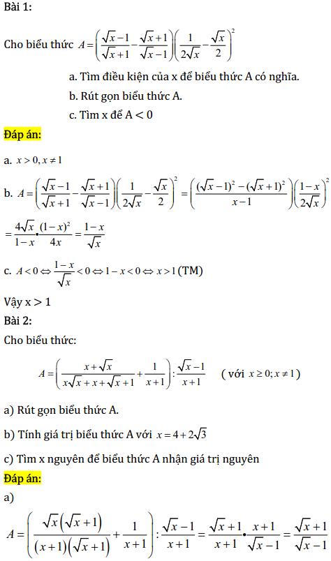 Một số bài tập điển hình ôn thi học kì Toán 9 có đáp án