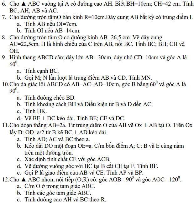 Ôn tập: Hệ thức lượng trong tam giác vuông – Hình học 9