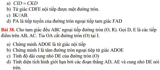 Nội dung ôn tập HK2 môn Toán 9 THCS Cát Linh 2017-2018