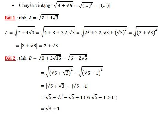 Chuyên đề căn bậc hai ôn thi vào lớp 10