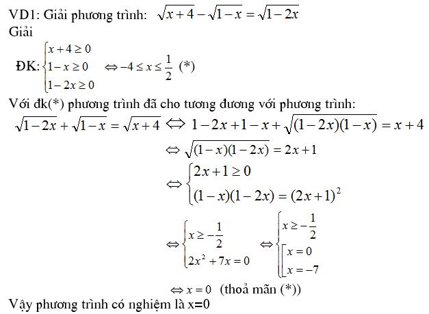 4 phương pháp giải phương trình vô tỷ – Toán cấp 2