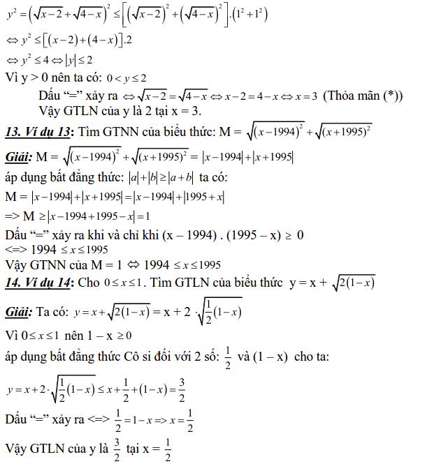 Sử dụng các bất đẳng thức cơ bản để tìm GTLN, GTNN