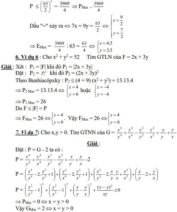 Sử dụng biểu thức phụ để tìm để tìm GTLN, GTNN