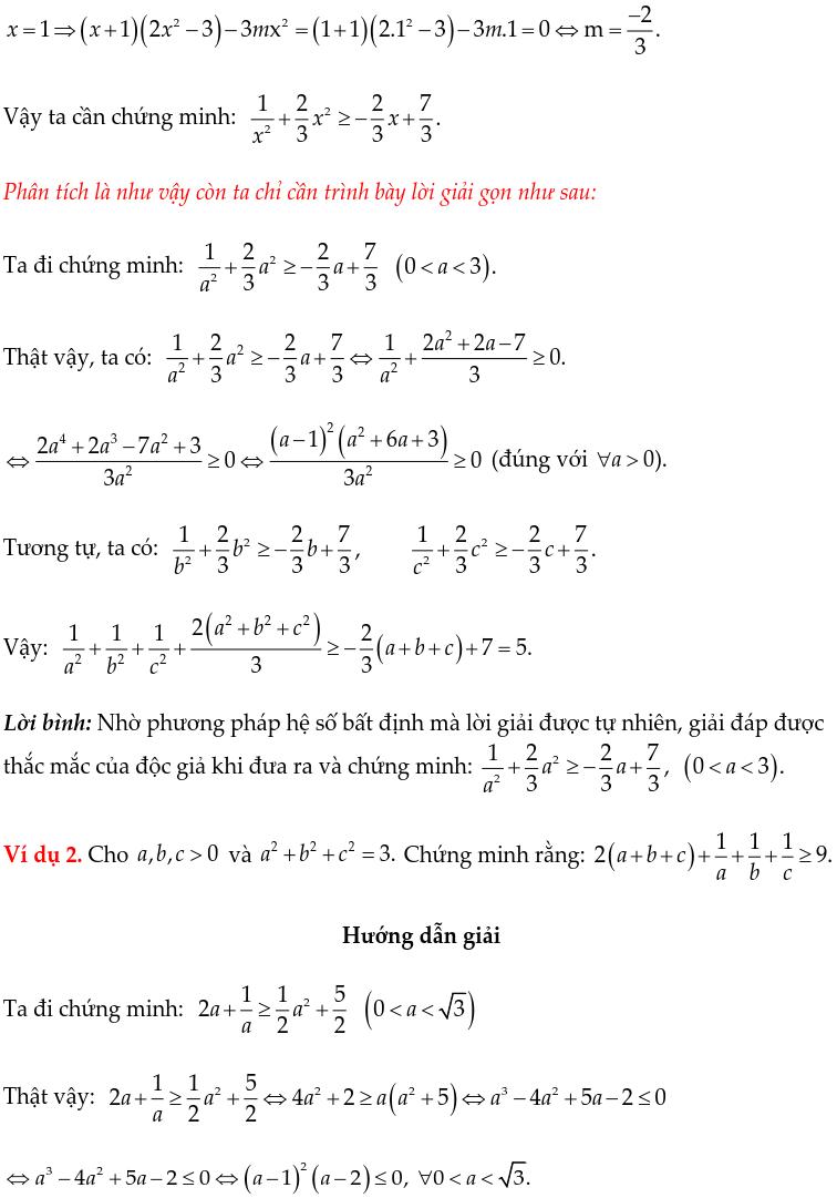 Một số ví dụ chứng minh BĐT bằng phương pháp hệ số bất định UCT