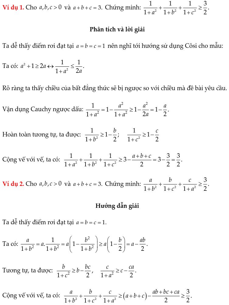 Một số ví dụ chứng minh BĐT bằng phương pháp Cauchy ngược dấu