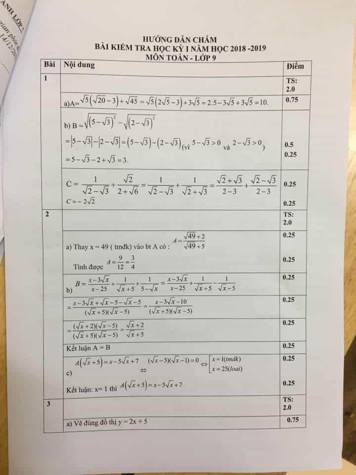 Đề kiểm tra học kì 1 môn Toán 9 huyện Thanh Trì 2018-2019 có đáp án