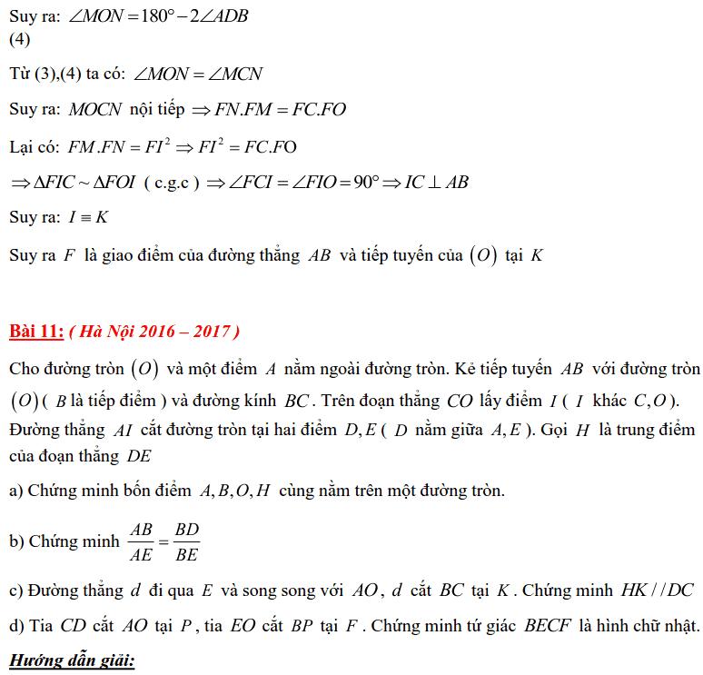 Tuyển tập các bài Hình học trong đề thi vào lớp 10 Hà Nội từ 2006 tới nay