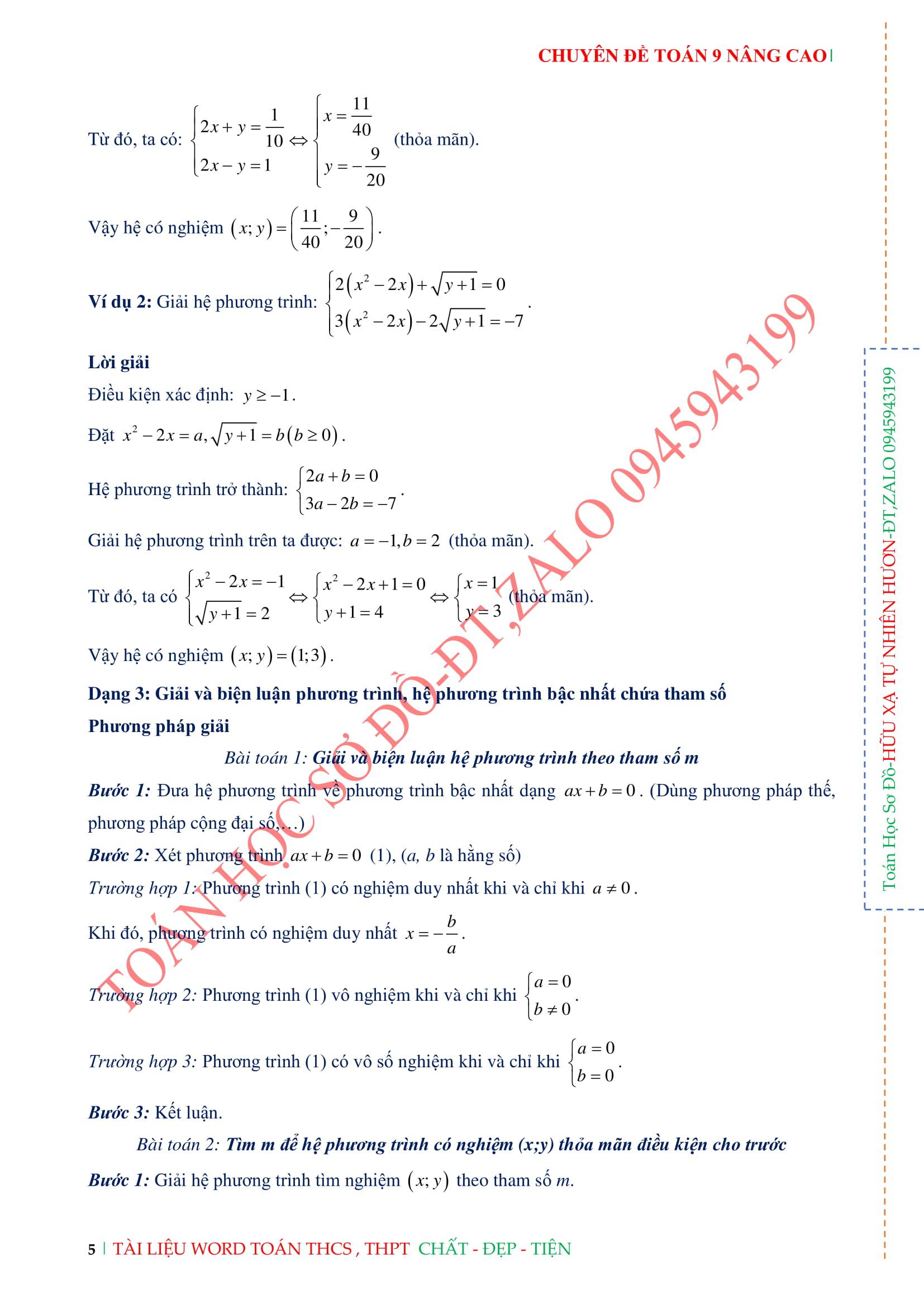 Phương trình và hệ phương trình - Toán Đại 9 nâng cao