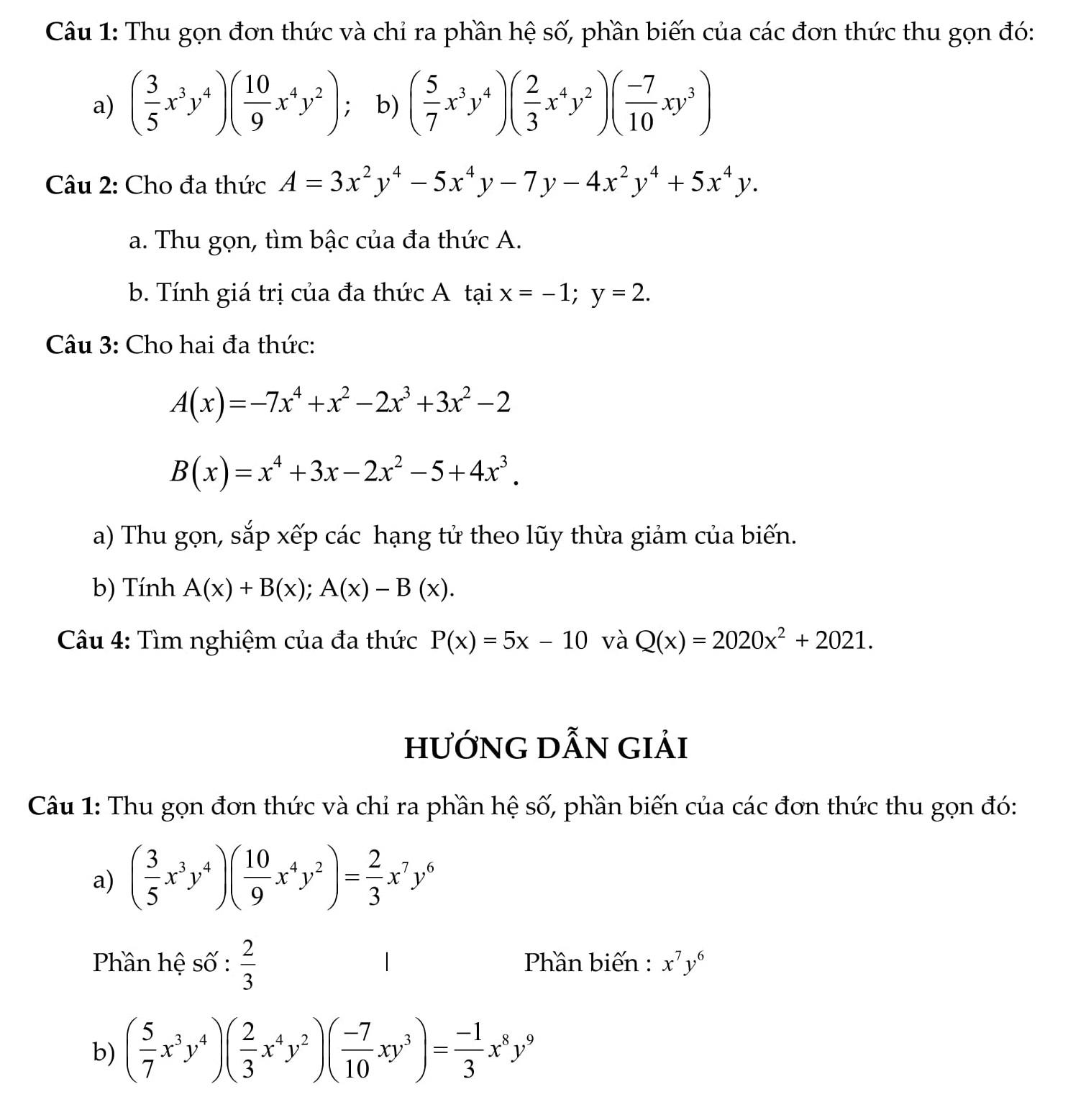Kiểm tra 45p Đại số 7: Chương 4 Biểu thức đại số