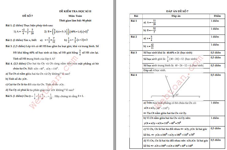 Điểm 9+ Với 10 Đề thi cuối HK2 toán 6 có đáp án phần 4 mới