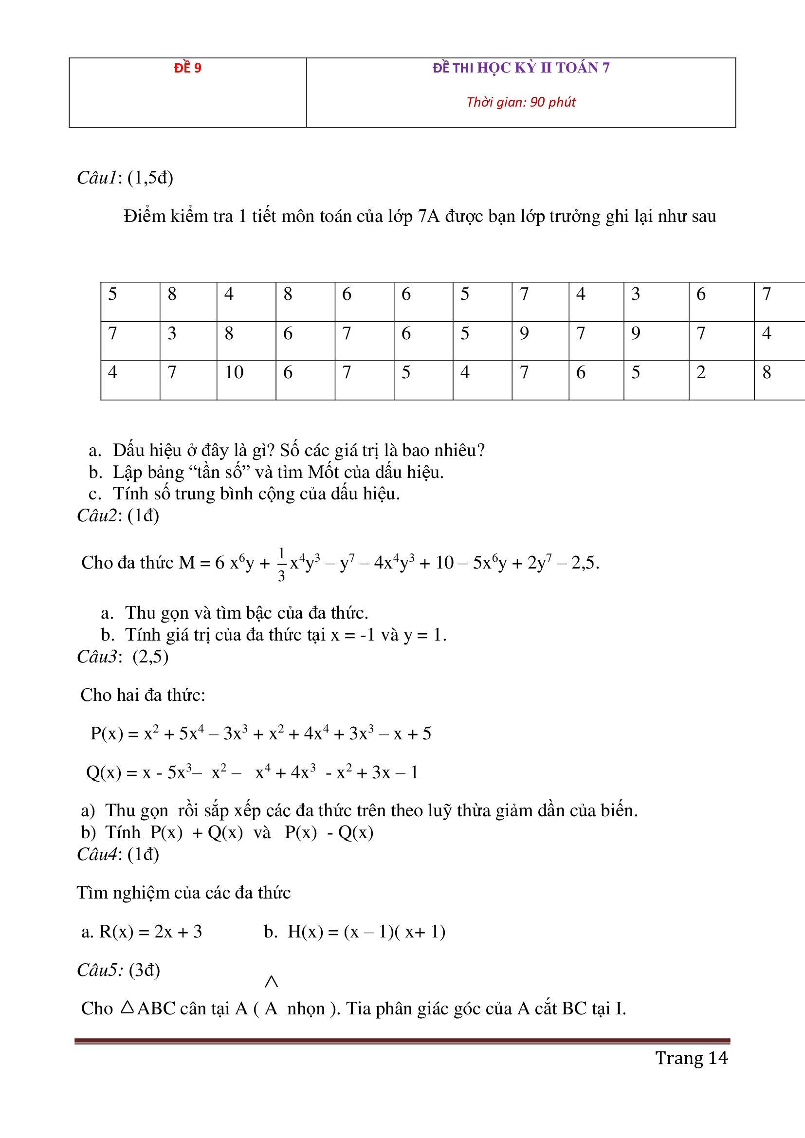 Đề thi hk2 toán 7 có đáp án cực hay mới nhất