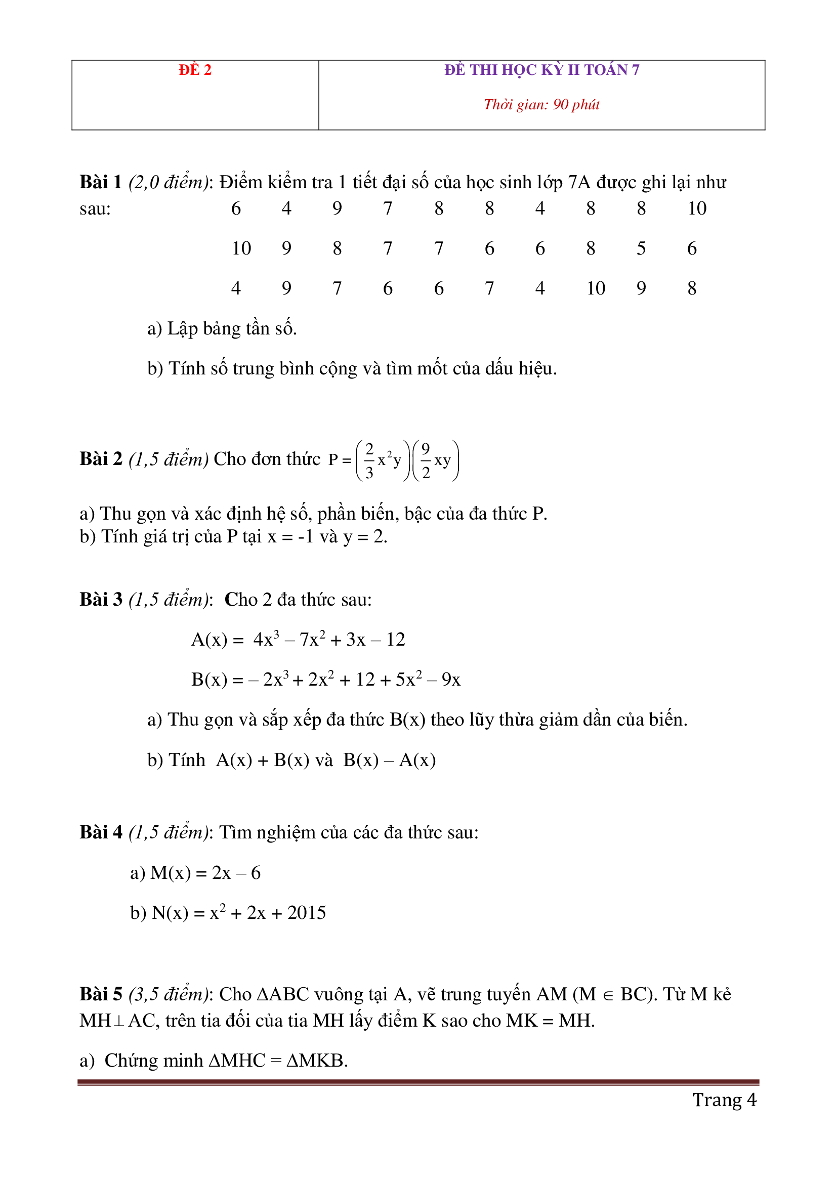 Đề thi hk2 toán 7 có đáp án dễ hiểu và hay 2021 bản đẹp