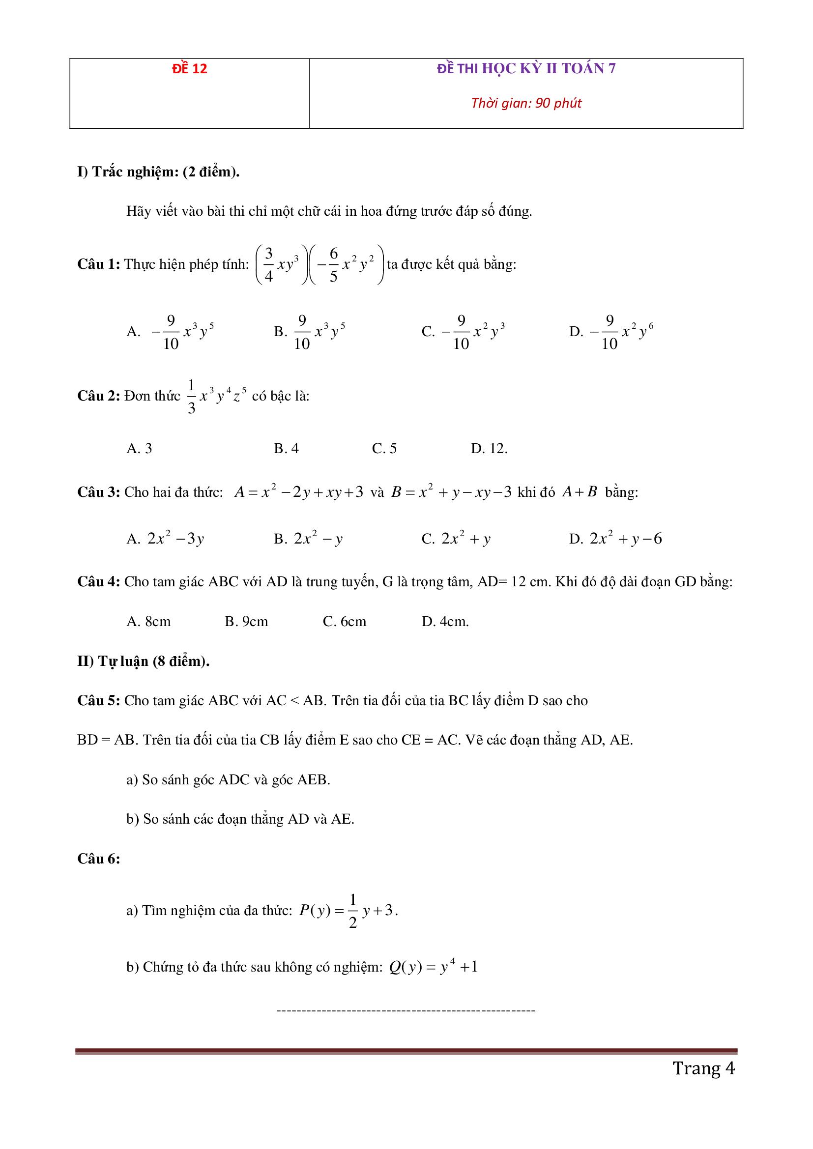 Đề thi hk2 toán 7 có đáp án cực dễ mới nhất