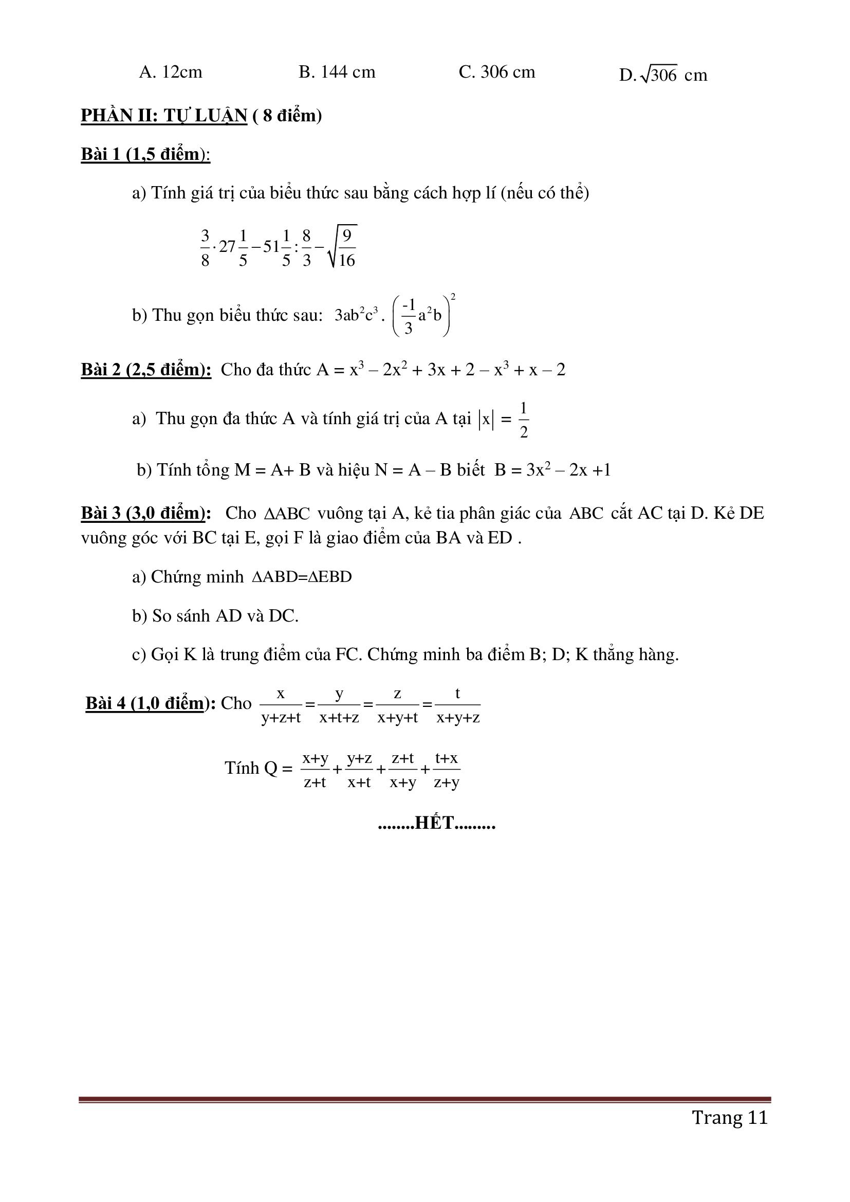 Đề thi hk2 toán 7 có đáp án cực dễ 2021 hay nhất