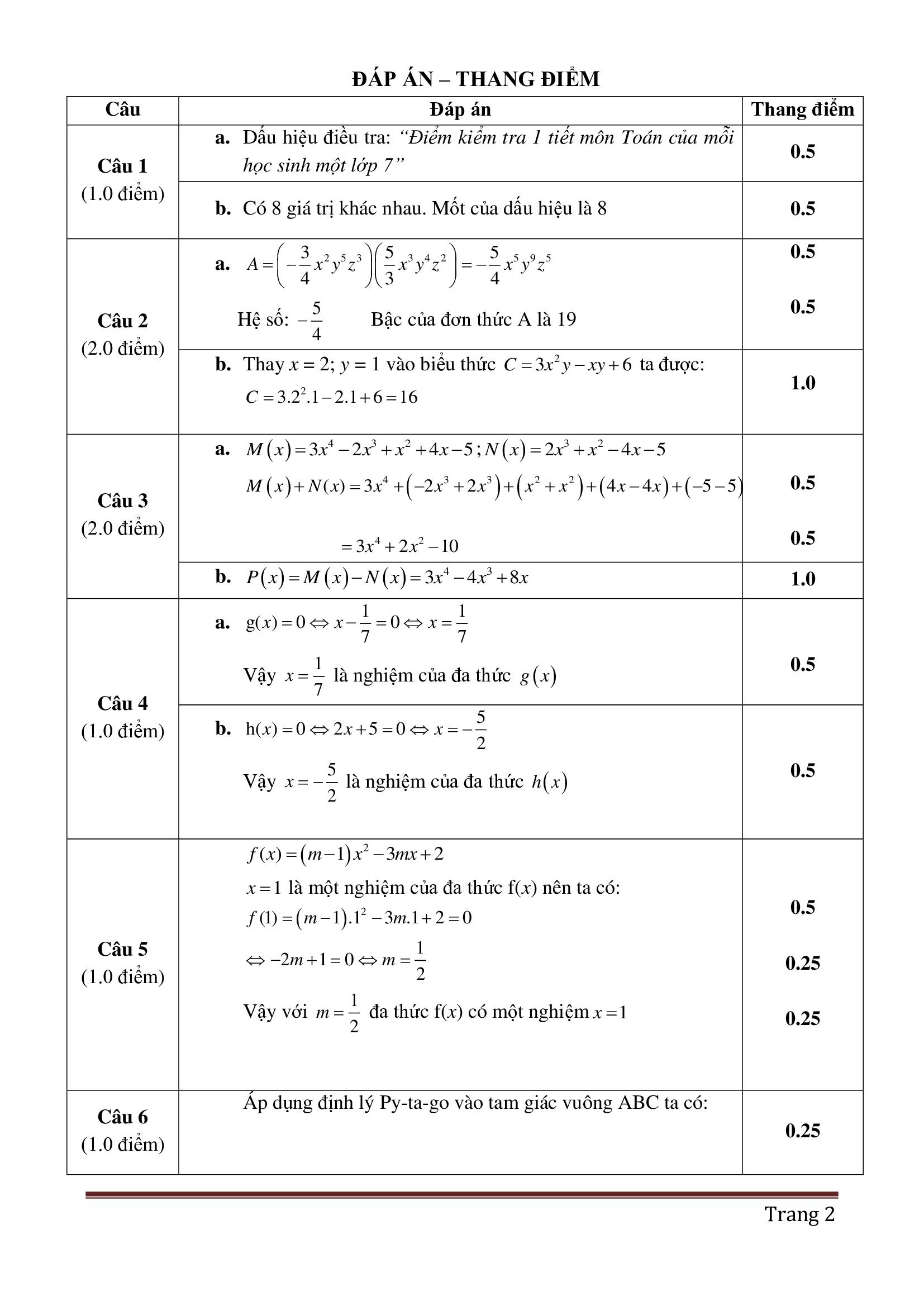 Đề thi hk2 toán 7 có đáp án dễ hiểu và hay 2021 chuẩn
