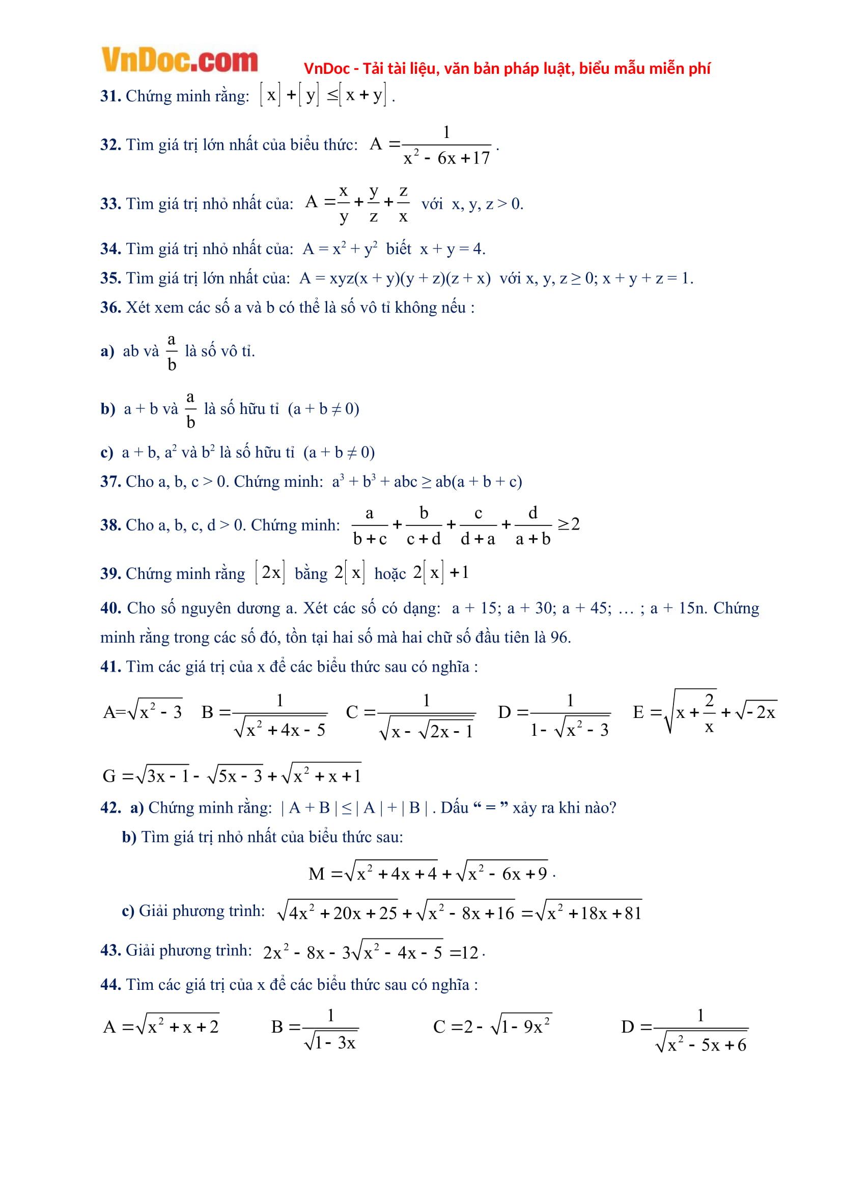 270 Bài toán 9 nâng cao có lời giải