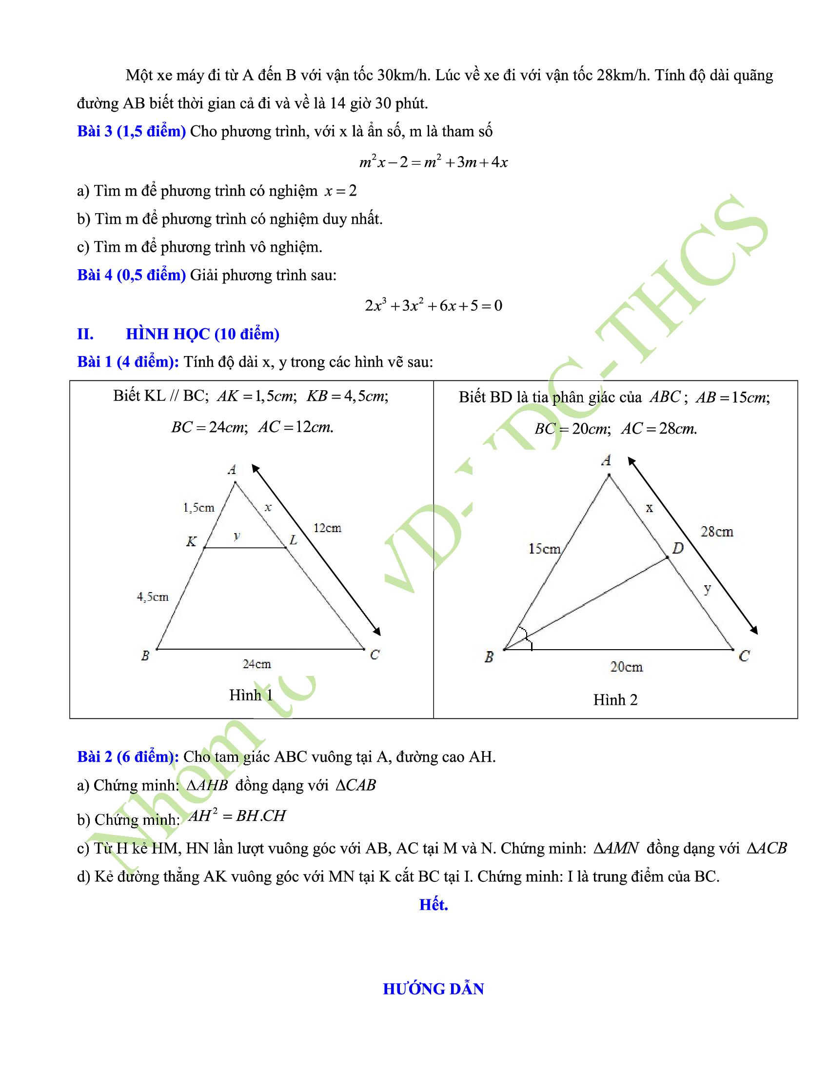 29+ đề thi giữa hk2 toán 8 hay nhất 2021 chi tiết