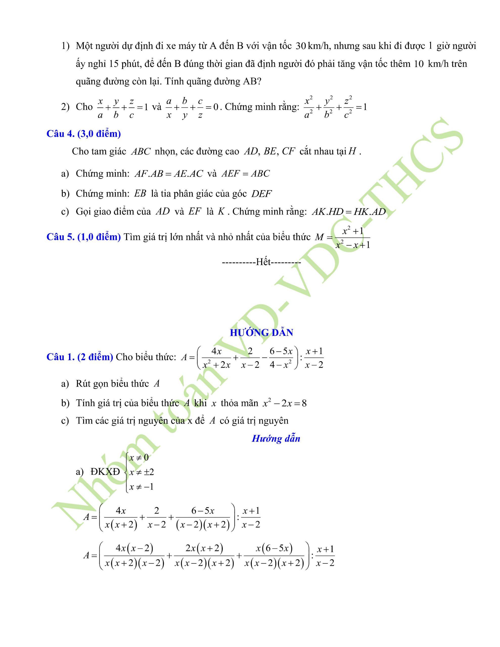 29+ đề thi giữa hk2 toán 8có lời giải để ôn tập chuẩn nhất