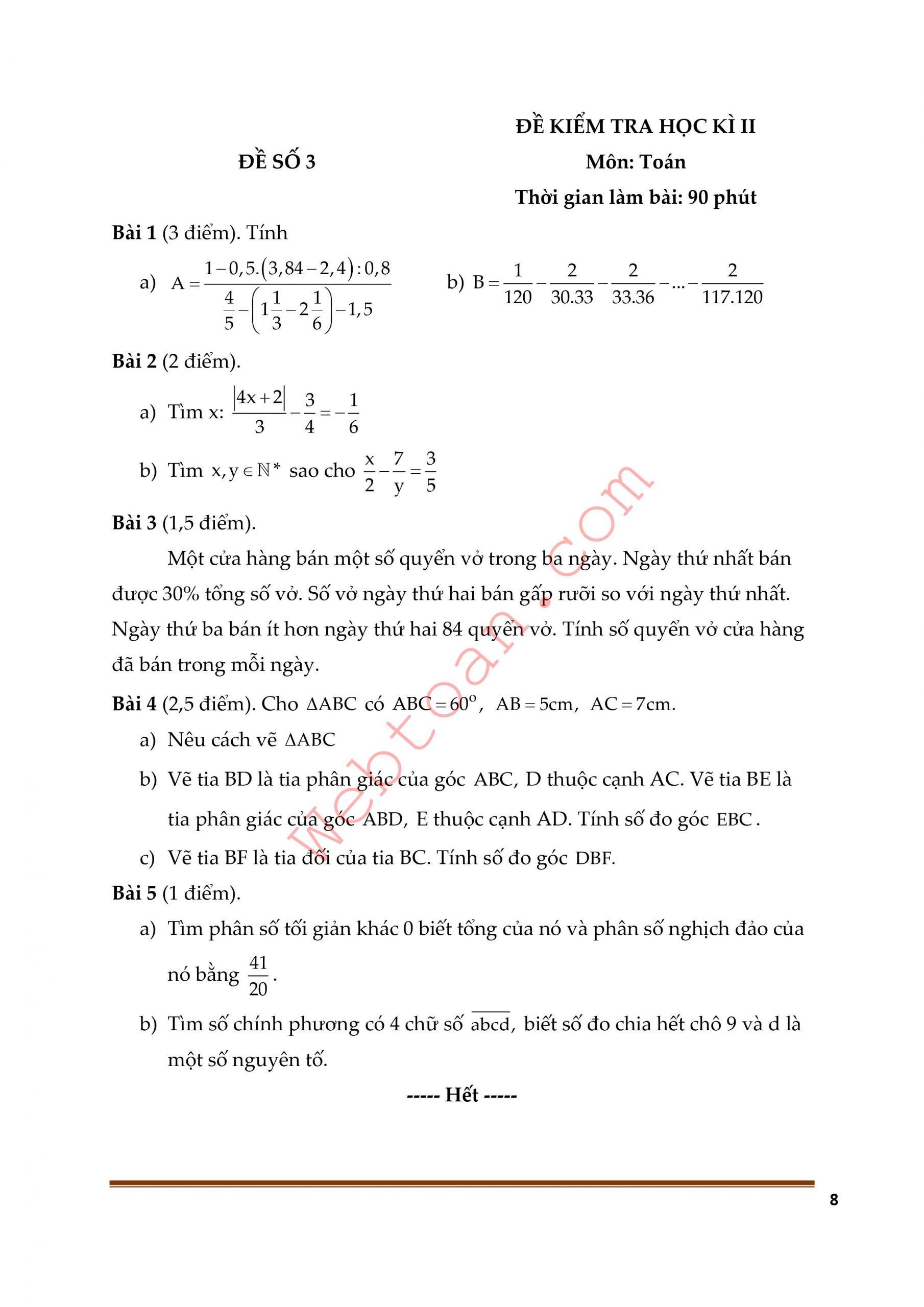 Điểm 9+ Với 10 Đề thi cuối HK2 toán 6 có đáp án cực hay dễ ôn