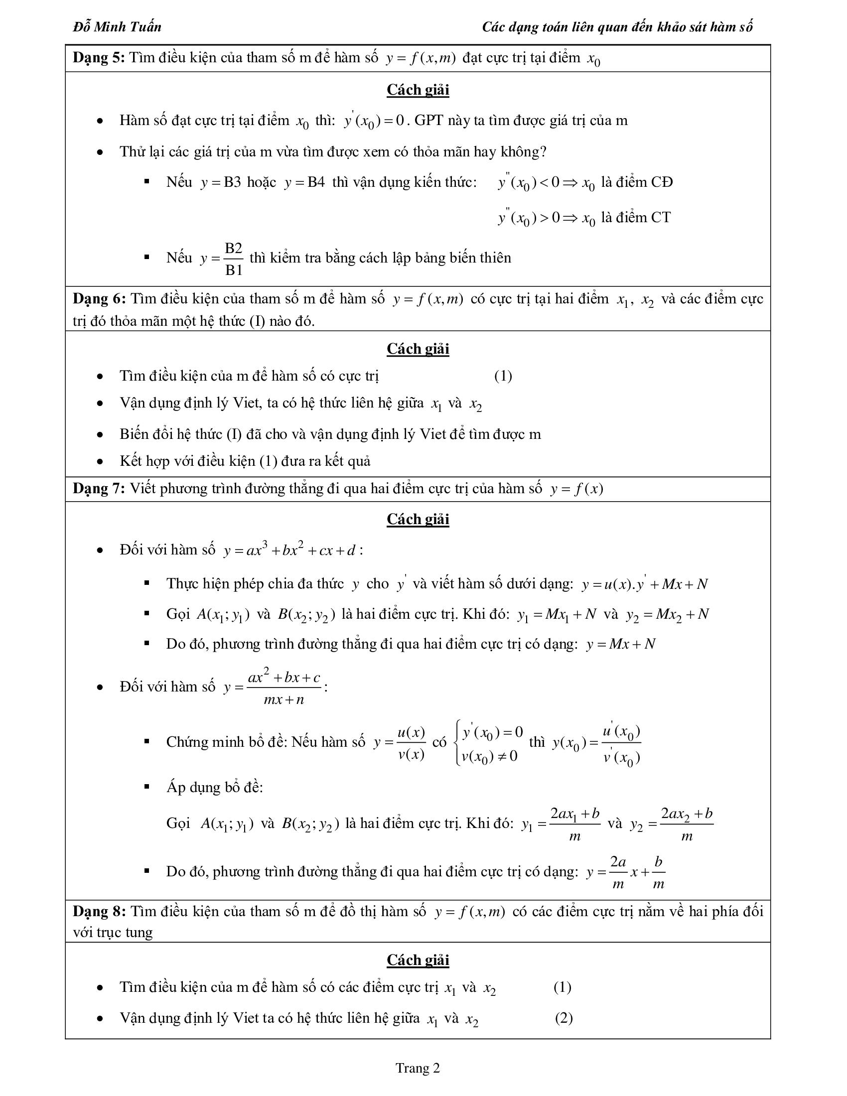 Chuyên đề Giải 35 dạng Khảo Sát Hàm Số - Toán 12