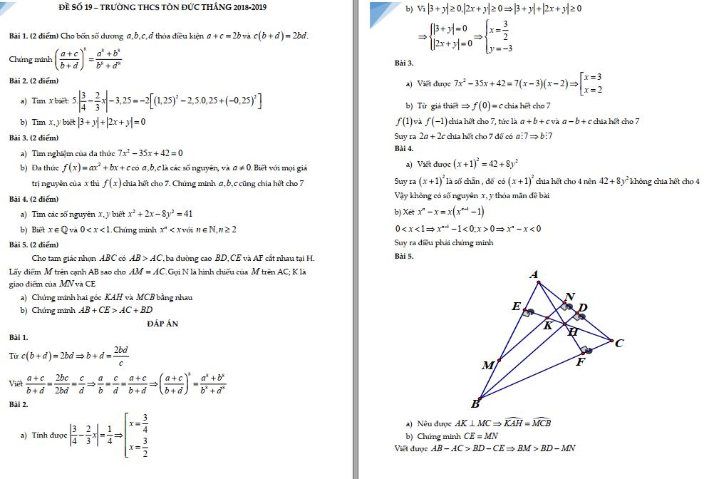 50 đề thi HSG toán 7 các năm chuẩn nhất