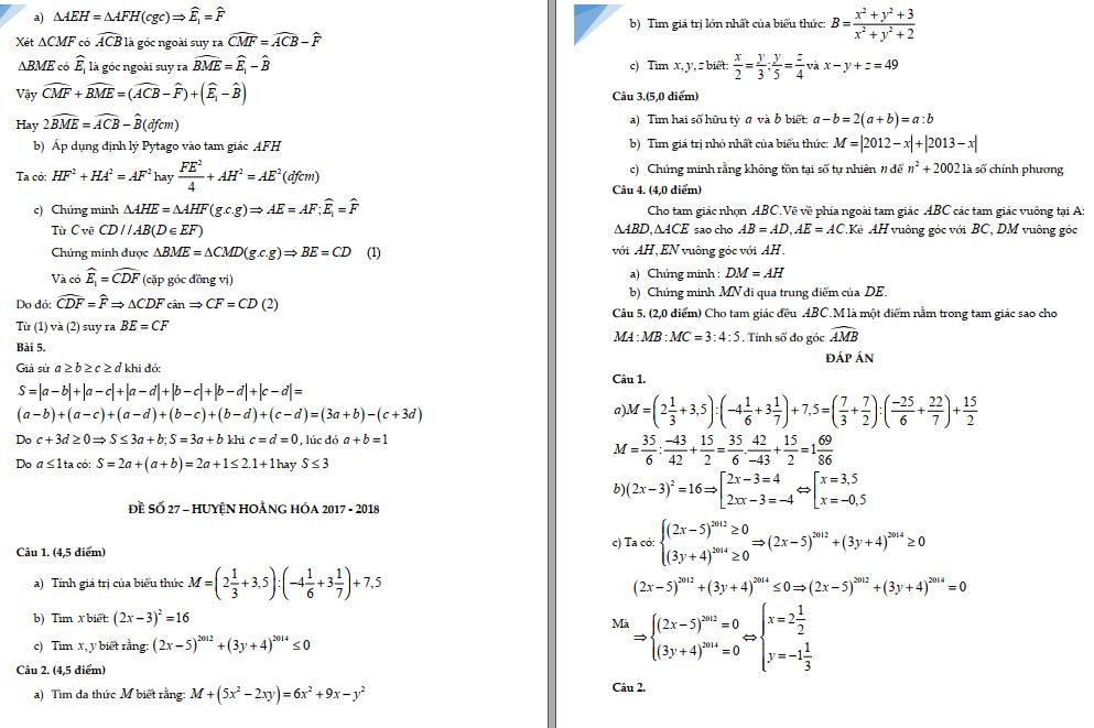 50 đề thi HSG toán 7 các năm qua cực hay