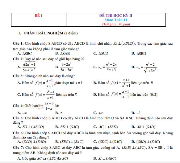 Bộ 9+ Mẫu Đề thi HK2 toán 11 Full bài giải