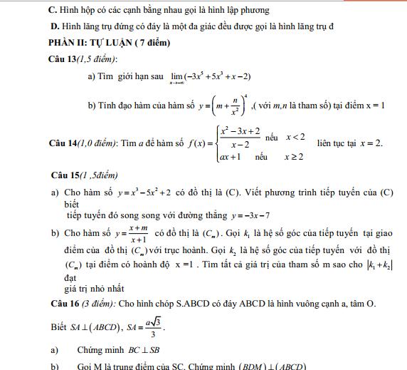 Bộ 9+ Mẫu Đề thi HK2 toán 11 Full bài giải hay nhất