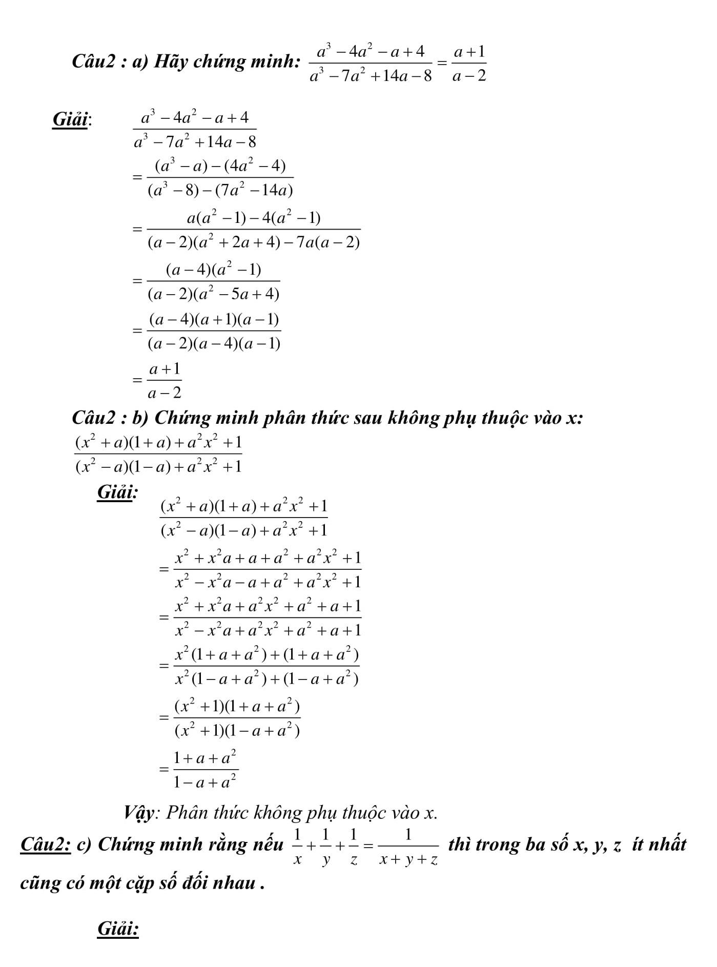 Chuyên đề 1: Rút gọn biểu thức bài tập và chứng minh