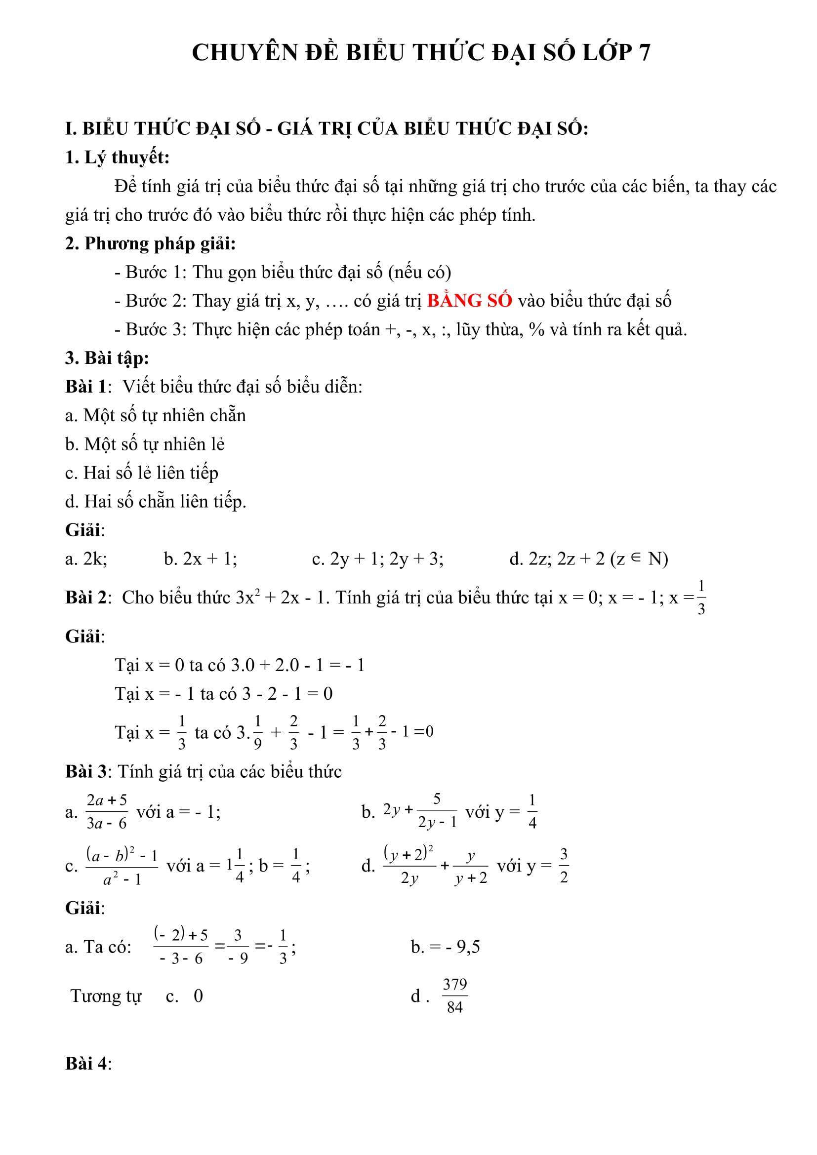 Bài tập về biểu thức Đại số - Đại số 7 chương 4