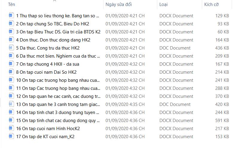 Giáo án hè Toán 7 HK2 - trọn bộ bản Word