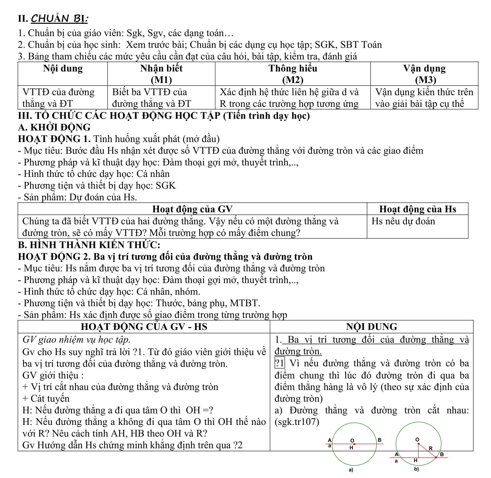 Giáo án Toán 9 Hình học - P2 Vị trí tương đối đường tròn và đường thẳng