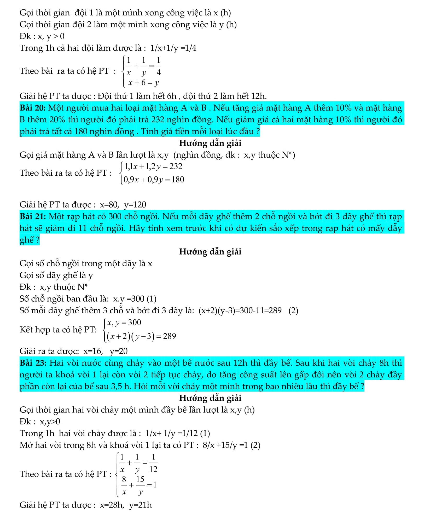 Hệ phương trình Toán 9 - Lập hệ phương trình