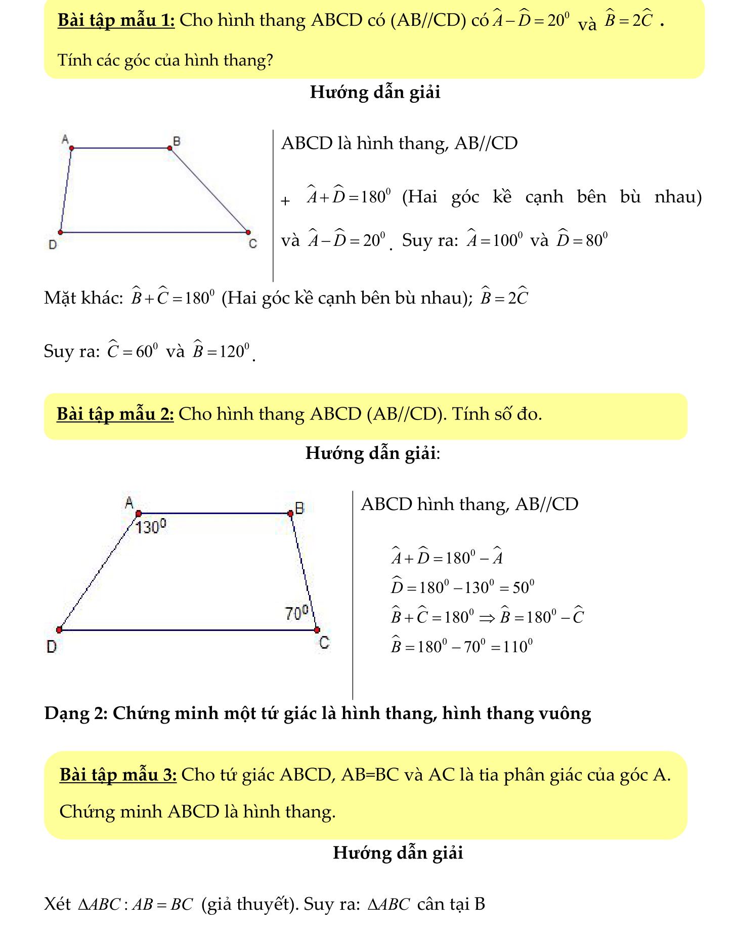 Toán hình 8 chủ đề 2 Hình Thang ôn tập tổng hợp