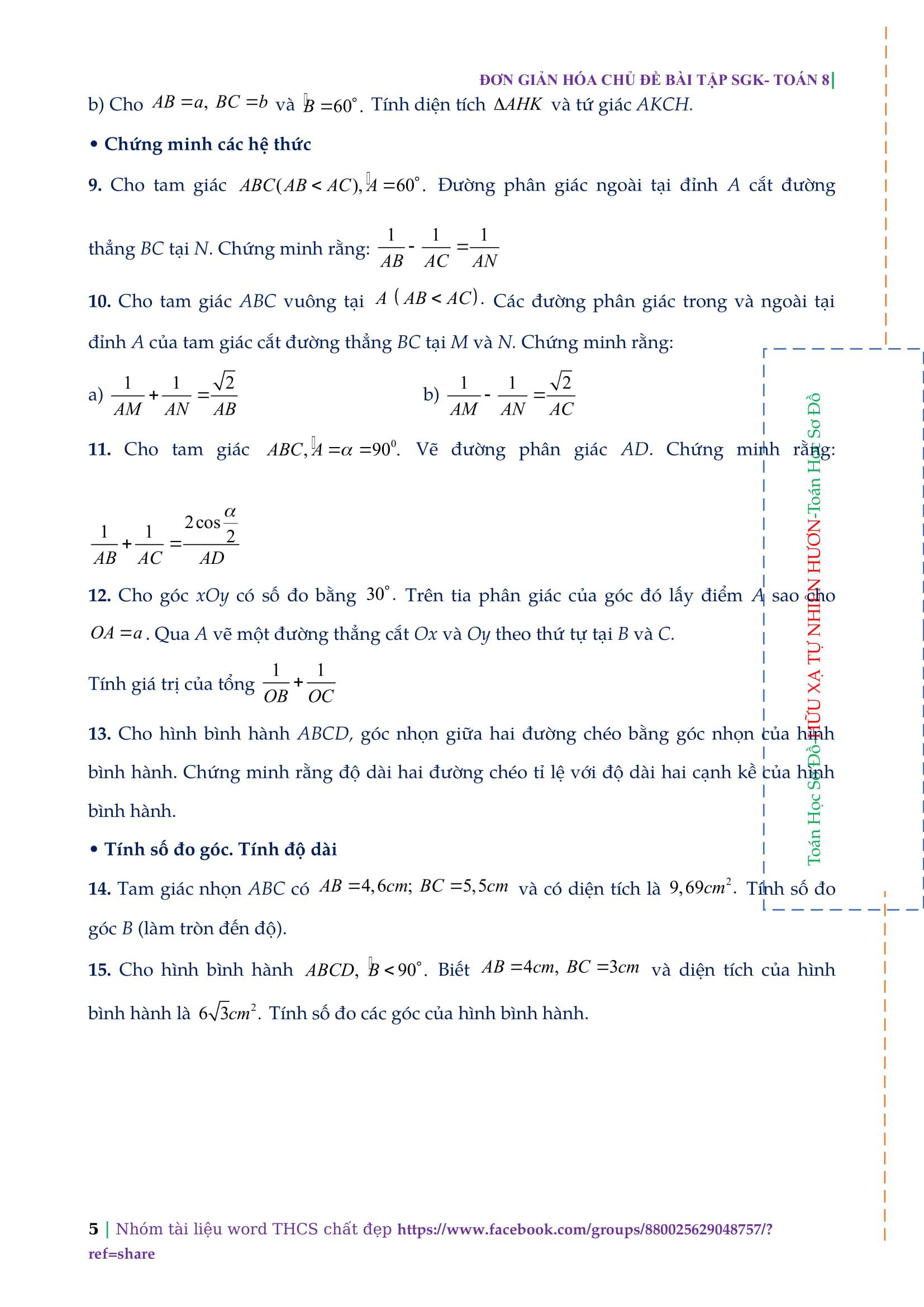 Toán hình học 9 bài 5: Tính diện tích tam giác, tứ giác bằng tỉ số lượng giác
