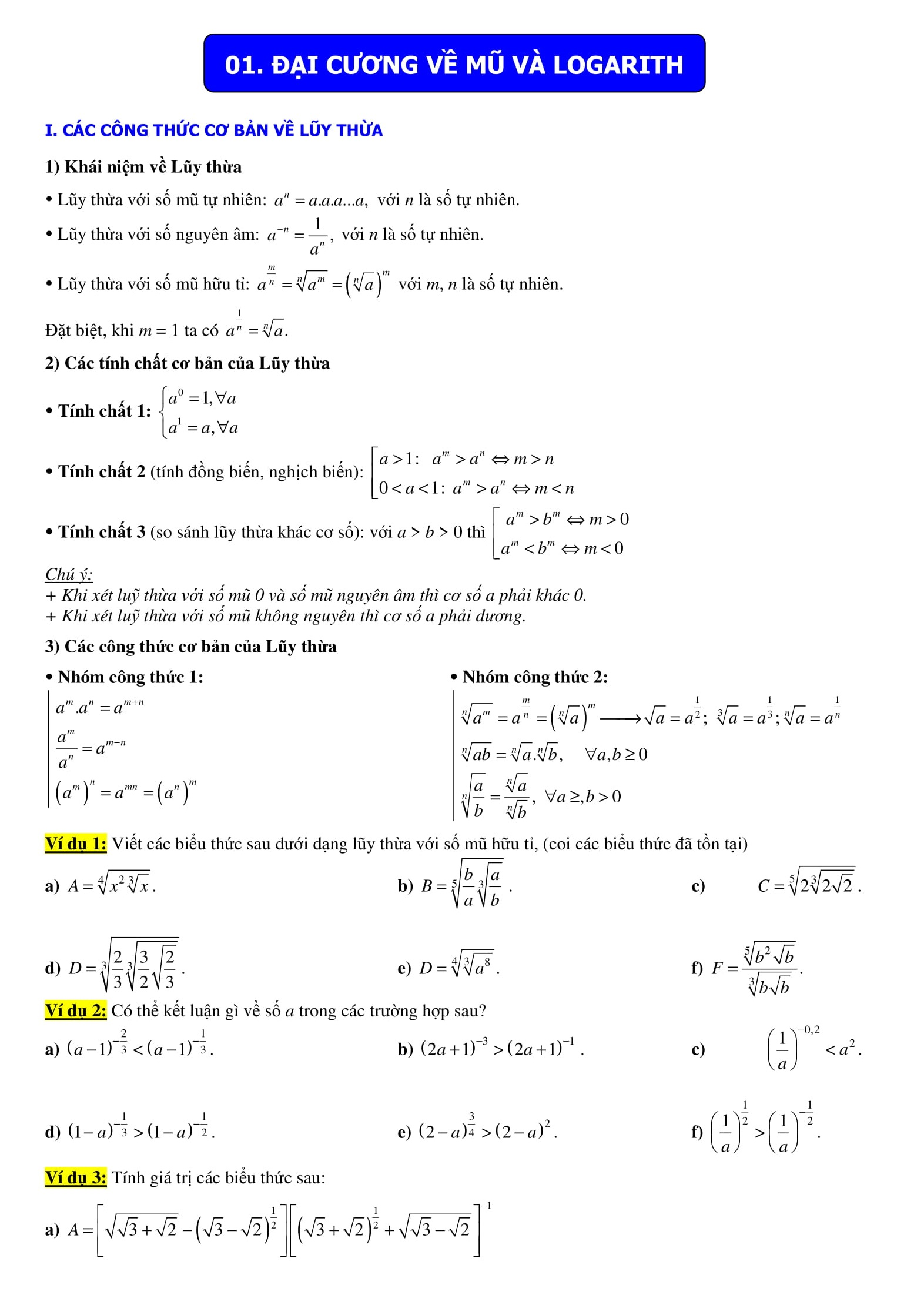 Chuyên đề 2: Số mũ và logarit - Toán 12