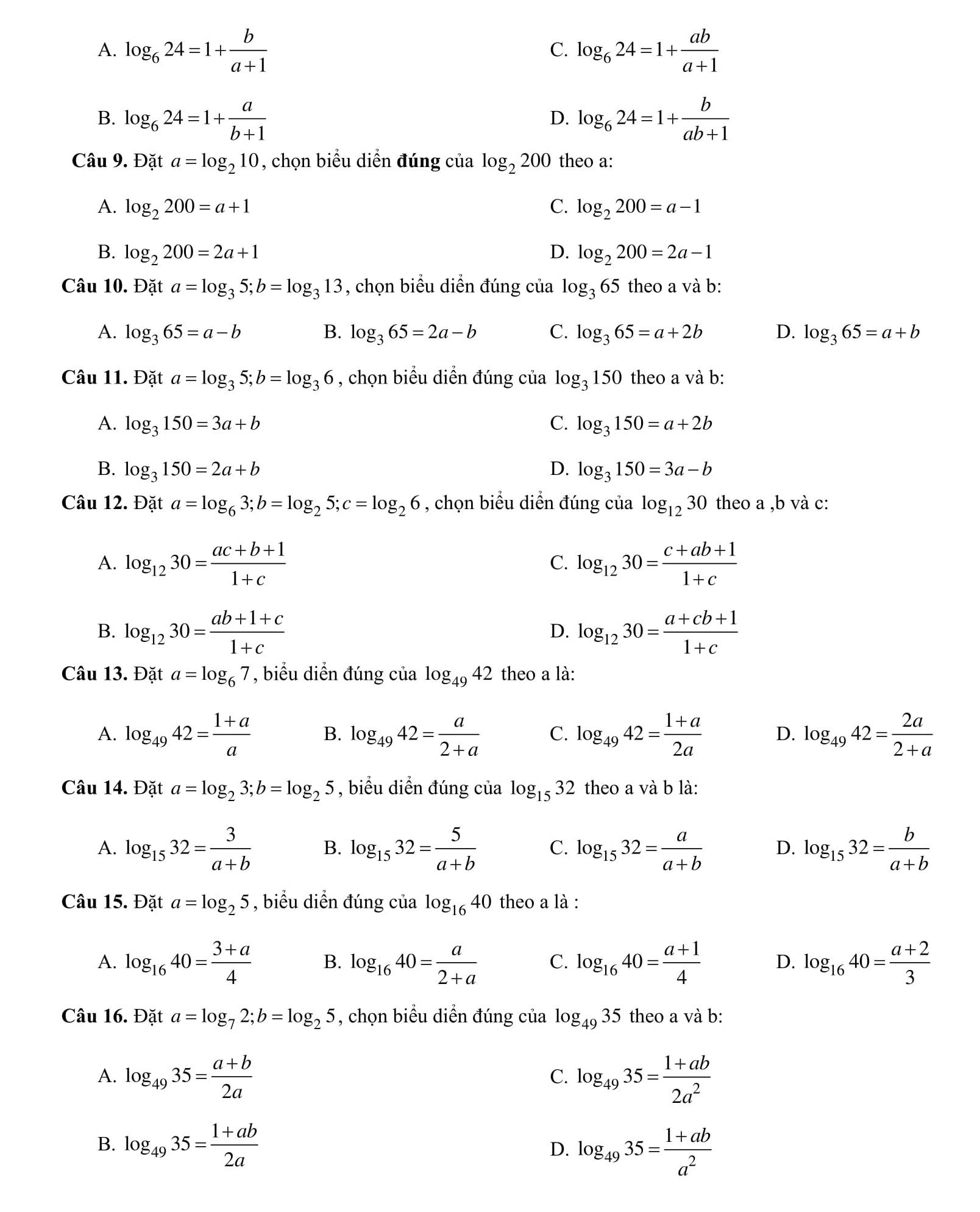 Bài tập trắc nghiệm chuyên đề Số mũ và logarit