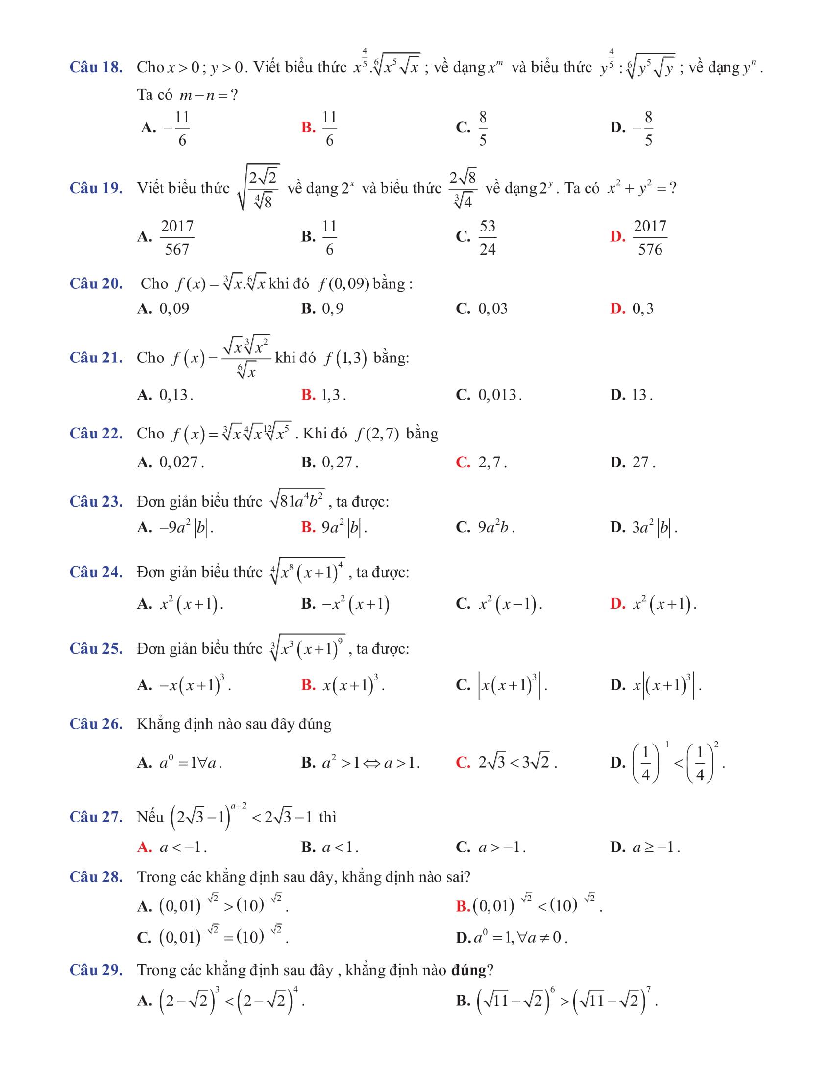 Trắc nghiệm về Chuyên đề Mũ và logarit có hướng dẫn giải