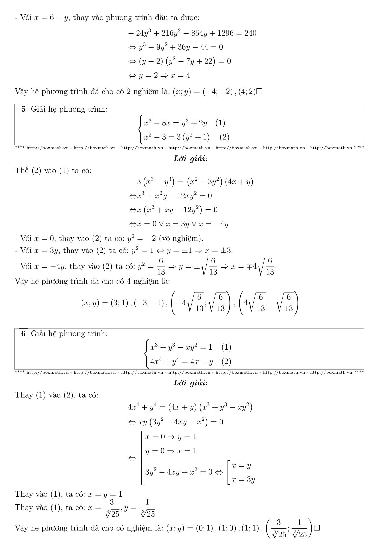Chuyên đề Hệ phương trình - Toán 12