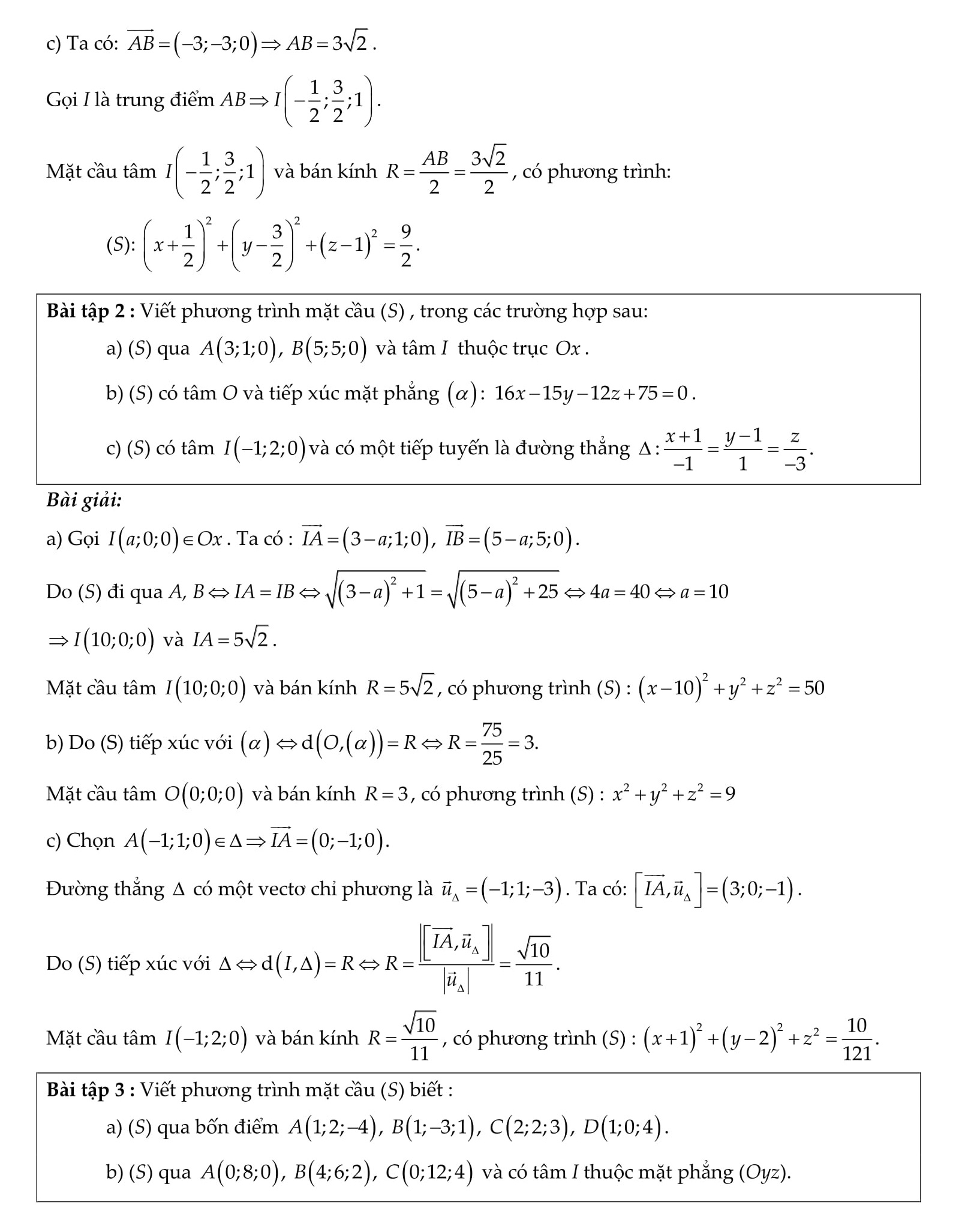 Mặt cầu trong không gian Toán 12 - Lý thuyết + bài tập