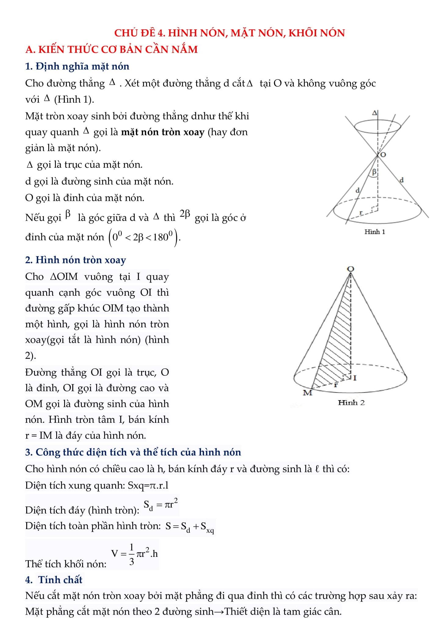 Chuyên đề Hình nón, trụ, cầu - Toán 12
