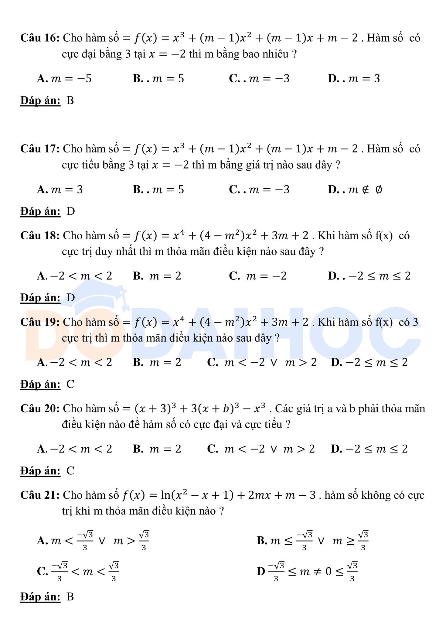 500 Bài tập trắc nghiệm Hàm số được hướng dẫn chi tiết