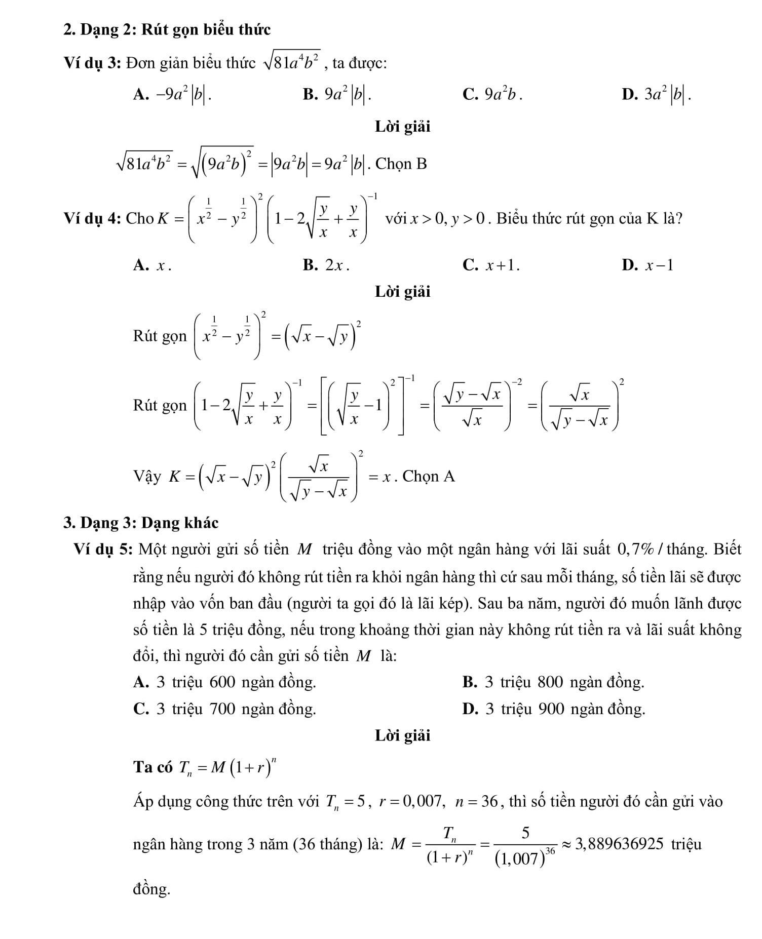 Chuyên đề 2: Lũy thừa, hàm số mũ và logarit